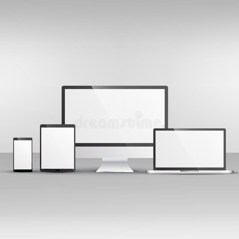 Przyrządu mockup wliczając komputeru, laptopu, smartphone i pastylki, ilustracji