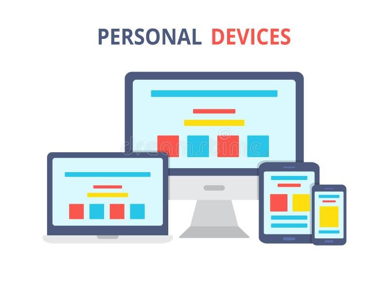przyrządu nowożytny elektroniczny Mieszkanie stylowa ilustracja laptop, komputer osobisty, ilustracji