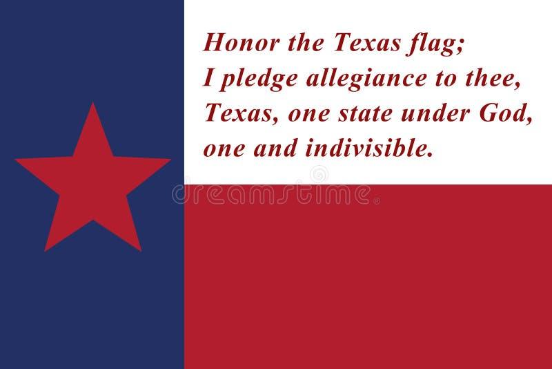 Przyrzeczenie ho?downictwo Teksas stanu flaga ilustracja wektor