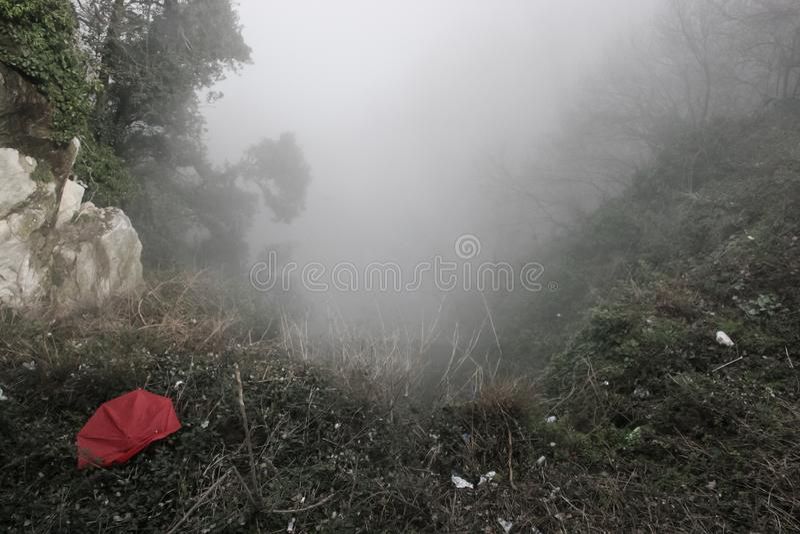 Przyschnięty czerwony parasol w ciężkiej mgle w górach zdjęcie royalty free