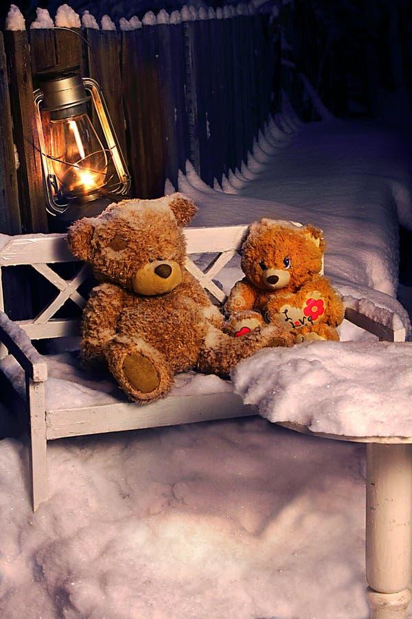 przyschnięte zabawki Zrzuceni niedźwiedzie Zamarznięci niedźwiedzie obraz royalty free
