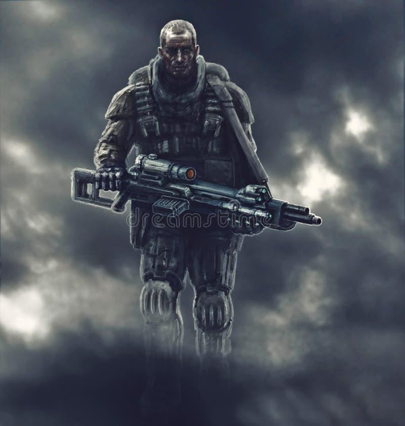 Przyschnięty żołnierz iść w dym po bitwy ilustracja wektor