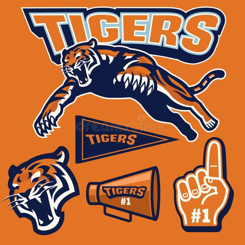 Przysiadły tygrys w sport maskotki secie royalty ilustracja