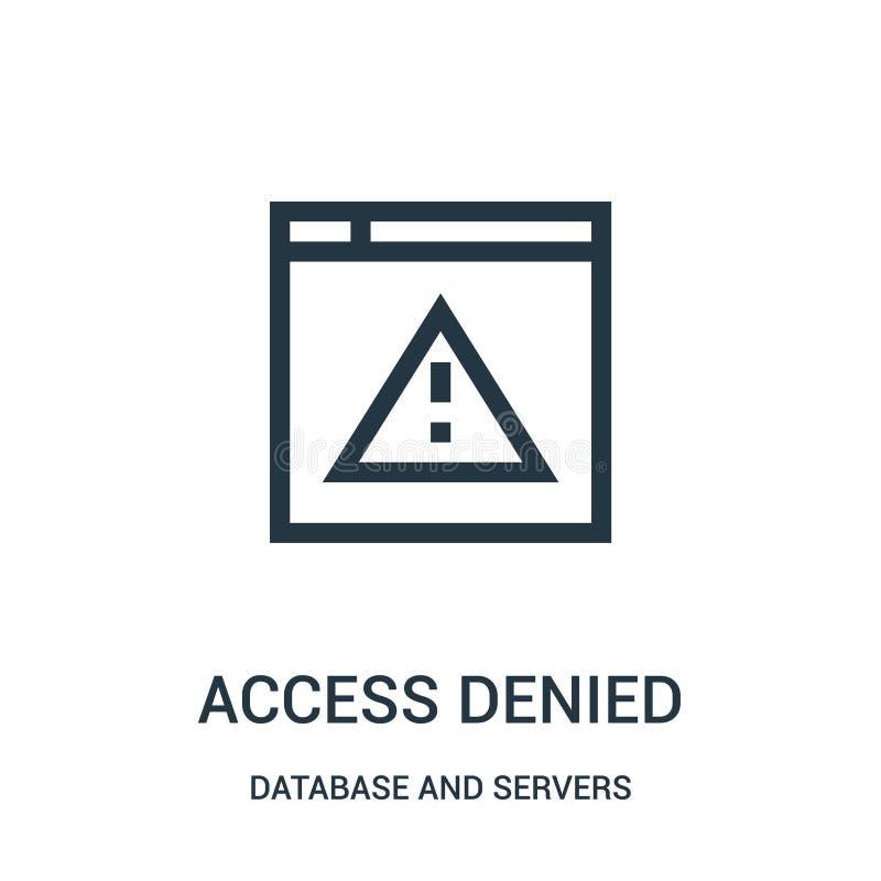przystępuje zaprzeczającego ikona wektor od baza danych i serwerów inkasowych Cienki linia dostęp zaprzeczał kontur ikony wektoru ilustracja wektor