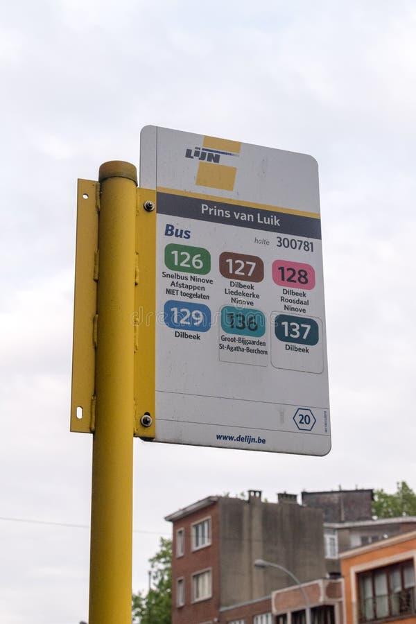 Przystanek autobusowy De Lijn Prins van Luik w Brukseli fotografia royalty free