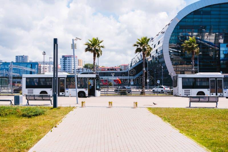 Przystanek autobusowy piękny miasto z drzewkami palmowymi zdjęcie royalty free
