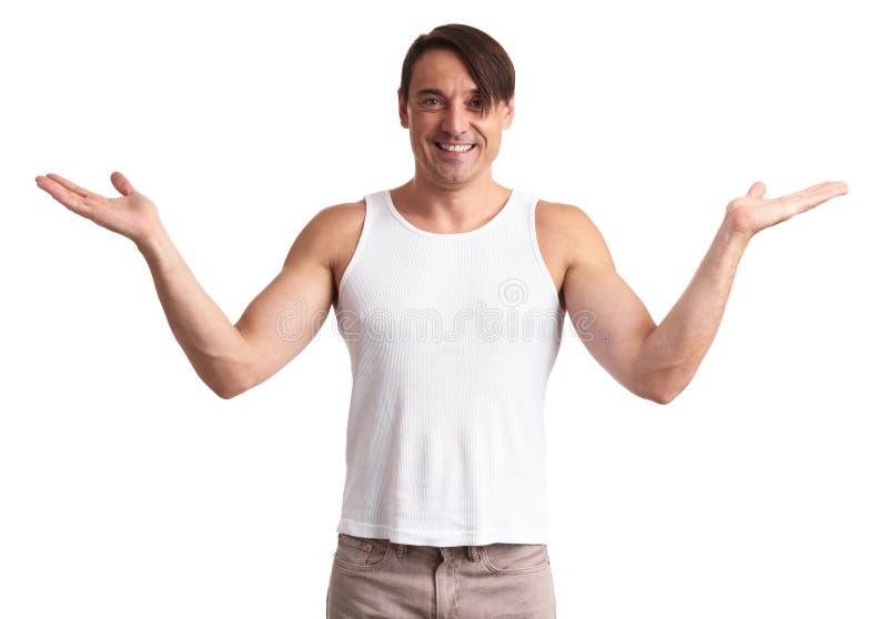 Przystojna atleta w biały koszulowy ono uśmiecha się obrazy stock