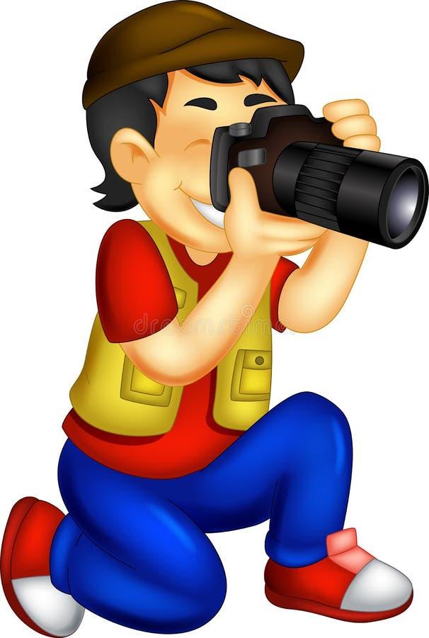 Przystojna fotograf kreskówka w akci z śmiać się ilustracja wektor
