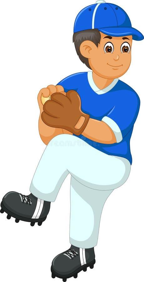 Przystojna gracz baseballa kreskówka w akci z uśmiechem