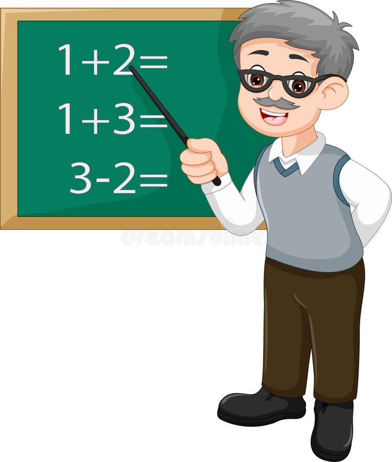 Przystojna nauczyciel kreskówka uczy matematykę w sala lekcyjnej