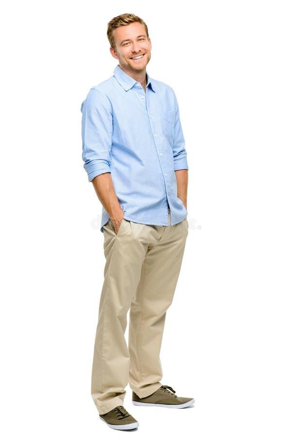 Przystojnego młodego człowieka długości bielu uśmiechnięty pełny tło fotografia stock
