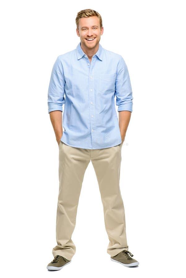 Przystojnego młodego człowieka długości bielu uśmiechnięty pełny tło zdjęcie stock