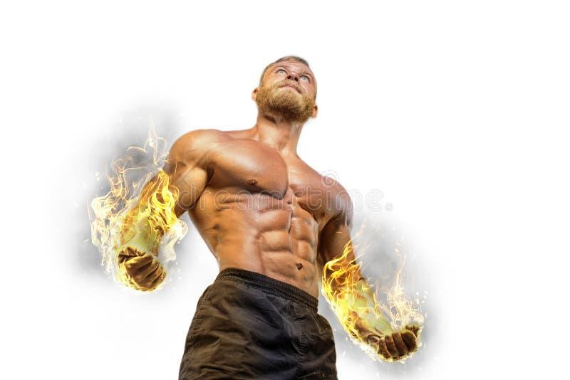 Przystojnej władzy mężczyzna sportowy bodybuilder obrazy royalty free