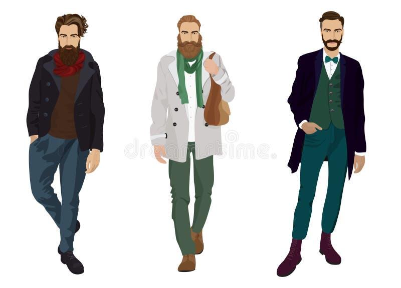 Przystojni młodzi faceci z modniś brodami w modzie i przypadkowych ubraniach odizolowywających ilustracja wektor