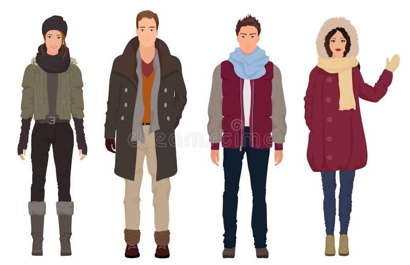 Przystojni młodzi faceci z pięknymi dziewczyna modelami w zimie grżą przypadkową nowożytną modę odziewają Ludzie par ilustracja wektor