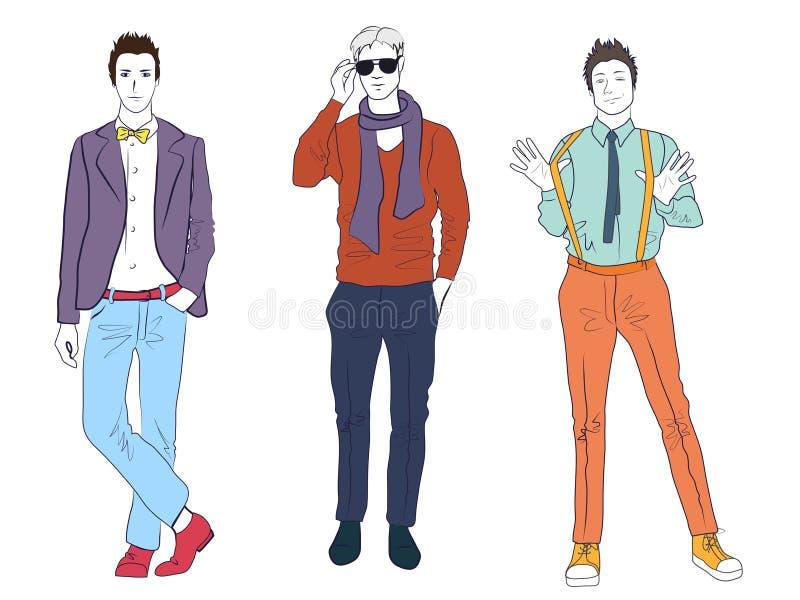 Przystojni młodzi facetów mężczyzna modele w przypadkowych nowożytnych mod ubraniach odizolowywających Płascy nakreślenie kreskow ilustracja wektor