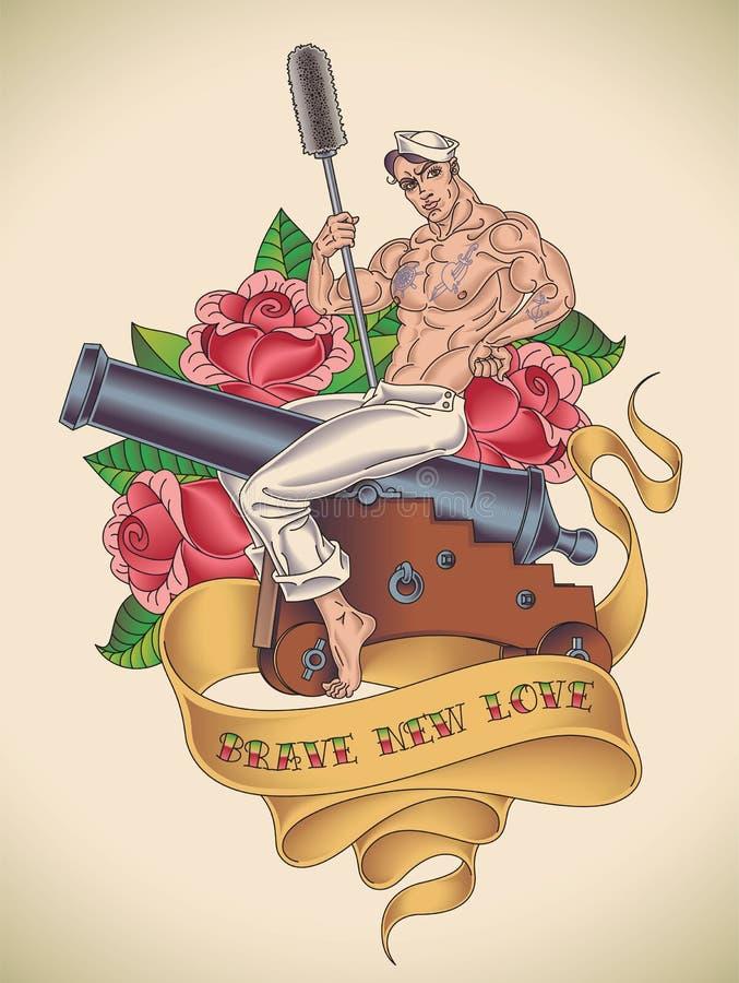 Przystojny żeglarza tatuaż ilustracji
