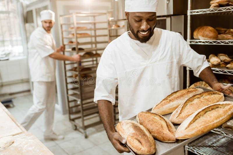 przystojny amerykanin afrykańskiego pochodzenia piekarz bierze chlebów bochenki od piekarnika obraz royalty free