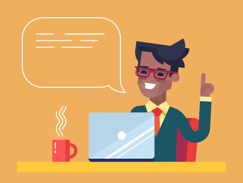 Przystojny amerykanina afrykańskiego pochodzenia biznesmen pracuje na jego laptopie trzyma up jego palec wskazującego i daje rada ilustracja wektor