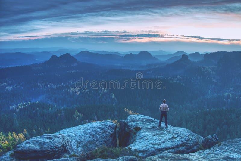 Przystojny bez koszuli mężczyzna na skałach, biegacz patrzeje horyzont fotografia royalty free