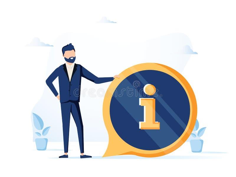 Przystojny biznesmena i informacji znak Informacji, FAQ, zawiadomienia i reklamy pojęcie, sztandar dla strony internetowej royalty ilustracja