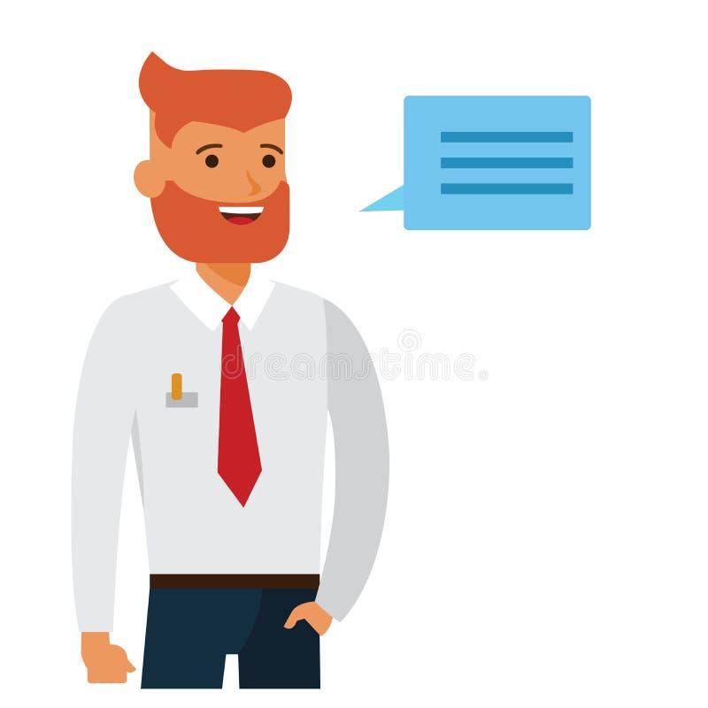 Przystojny biznesmena przedsiębiorca w białej koszulowej kreskówki płaskim wektorowym ilustracyjnym pojęciu na odosobnionym biały ilustracja wektor