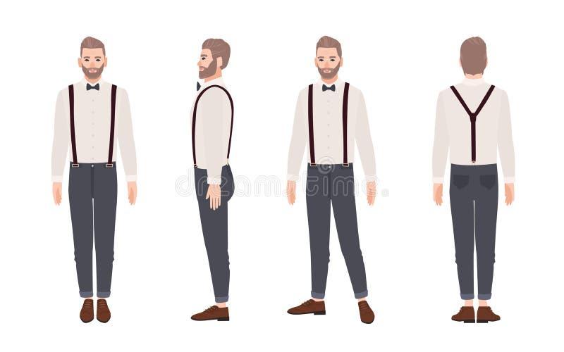 Przystojny brodaty mężczyzna jest ubranym spodnia z suspenders, koszula, łęku krawat Elegancki strój Elegancka męska postać z kre ilustracji