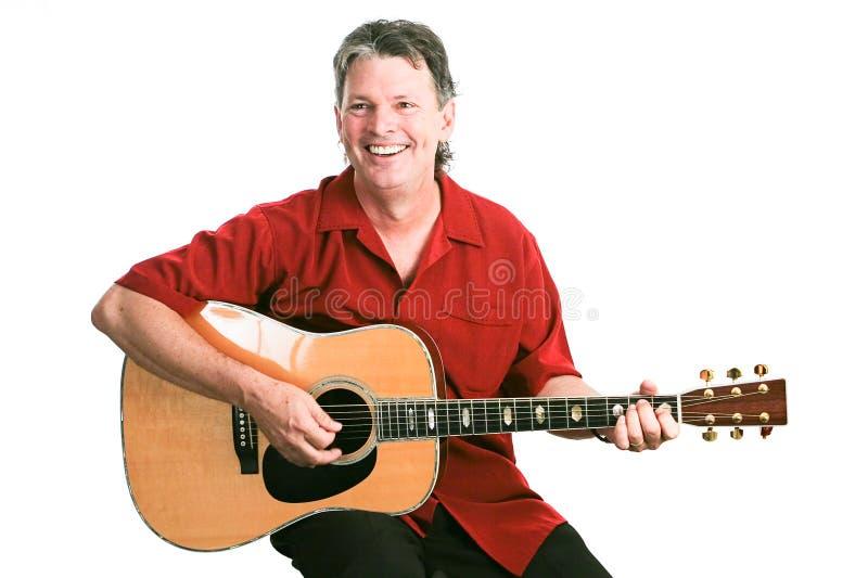 Gitarzysta Odizolowywający na bielu obraz stock