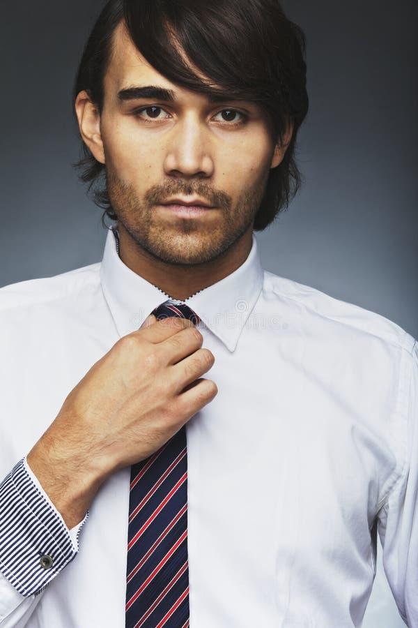 Przystojny dyrektor wykonawczy jest ubranym krawat obrazy stock