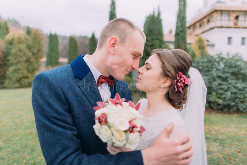 Przystojny fornal obejmuje jego powabnej nowej żony całuje i podczas gdy oba spaceruje w zieleni parkują obrazy royalty free