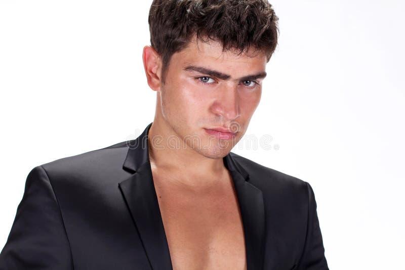 przystojny mężczyzna czarny brutalny zamknięty przystojny kostium zdjęcie royalty free