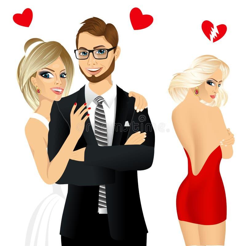 Przystojny mężczyzna i piękny brunetki śmiać się szczęśliwi ilustracja wektor