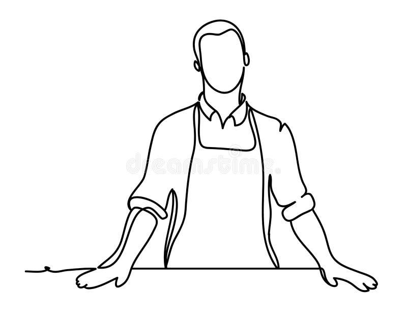 Przystojny mężczyzna kucharz Ciągły kreskowy rysunek Odizolowywający na whit ilustracji