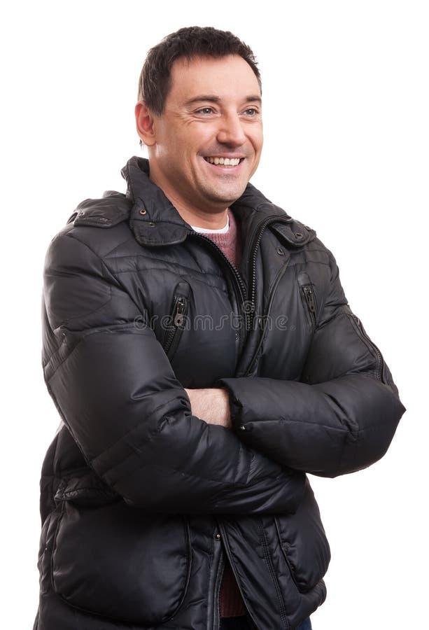 Przystojny mężczyzna w eleganckiej puszek kurtce obraz stock