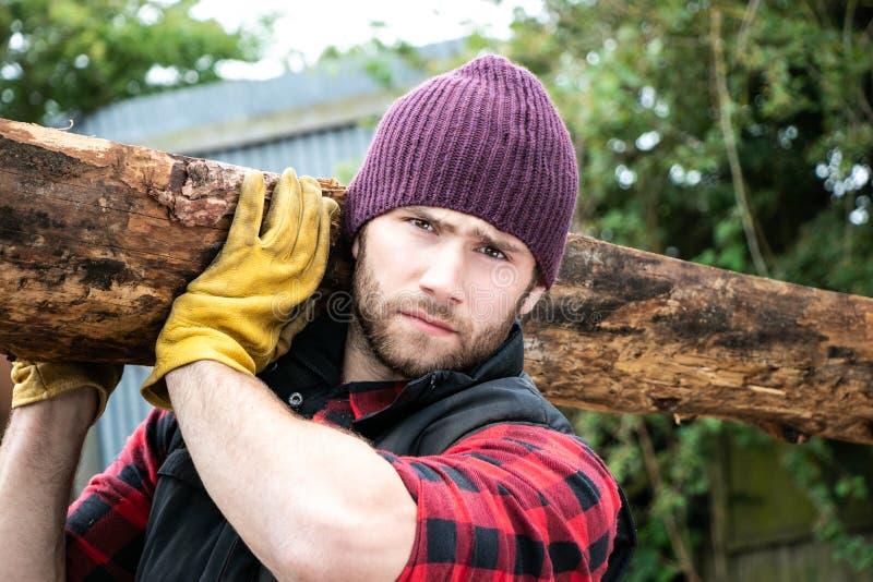 Przystojny męski lumberjack niesie drewno logował się jego ramię zdjęcie stock