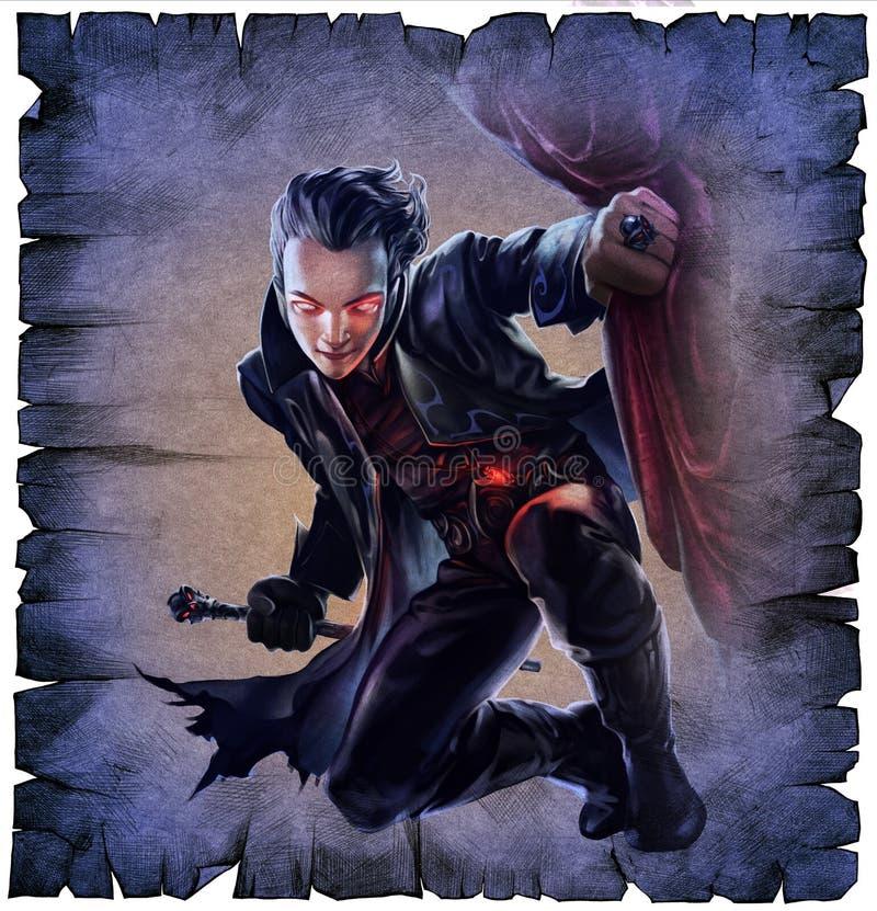 Przystojny męski wampir royalty ilustracja