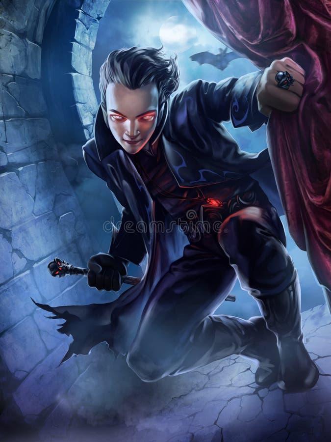 Przystojny męski wampir ilustracji