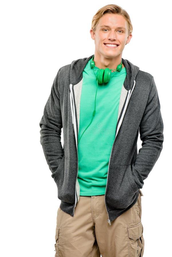 Przystojny młodego człowieka ono uśmiecha się odizolowywam na białym tle fotografia royalty free
