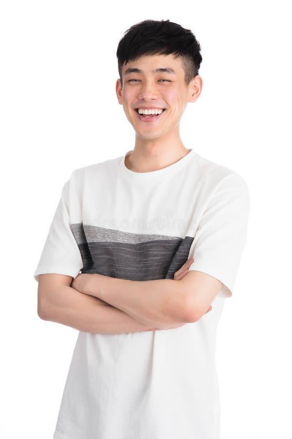 Przystojny młody Asia mężczyzna - odizolowywający nad białym tłem obrazy stock