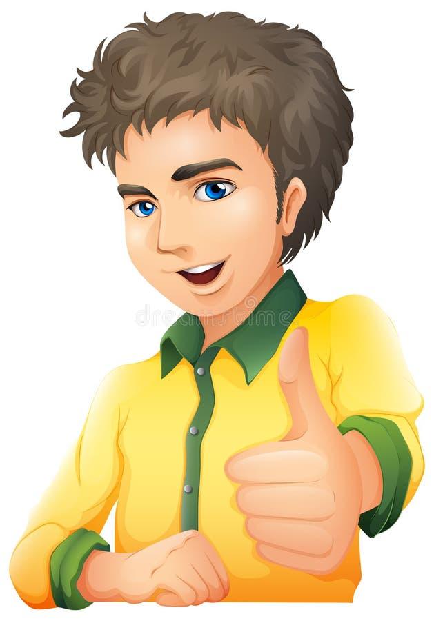 Przystojny młody człowiek pokazuje ręka sygnał ilustracji