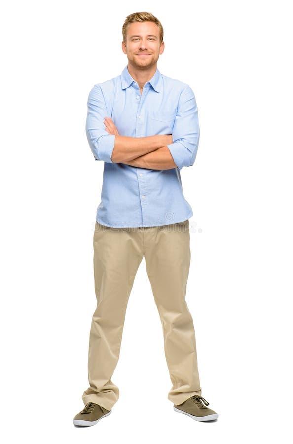 Przystojny młody człowiek zbroi fałdowego pełnego długość bielu tło fotografia royalty free