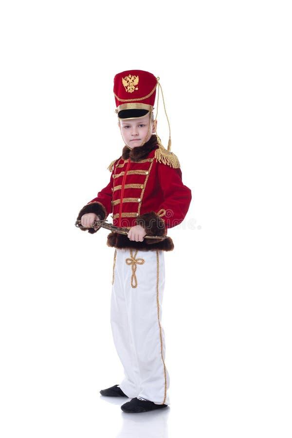 Przystojny młody hussar odizolowywający na bielu fotografia royalty free