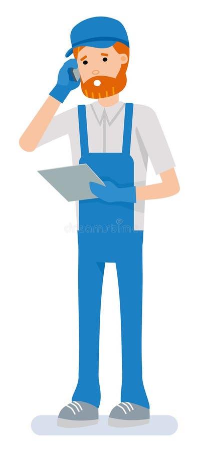 Przystojny magazynowy pracownik opowiada telefonem komórkowym podczas gdy trzymający schowek, na białym tle ilustracji