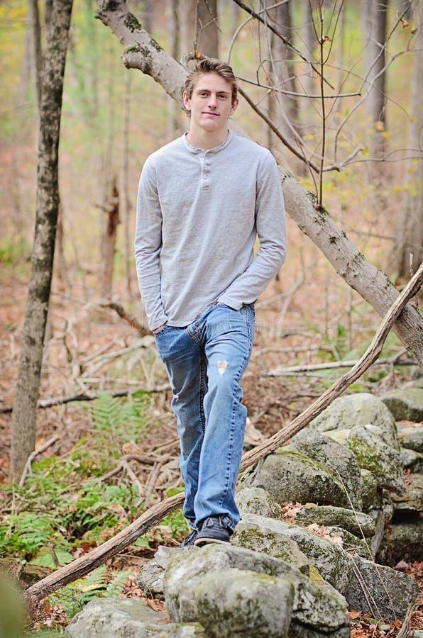 Przystojny nastoletni w drewnach zdjęcia stock