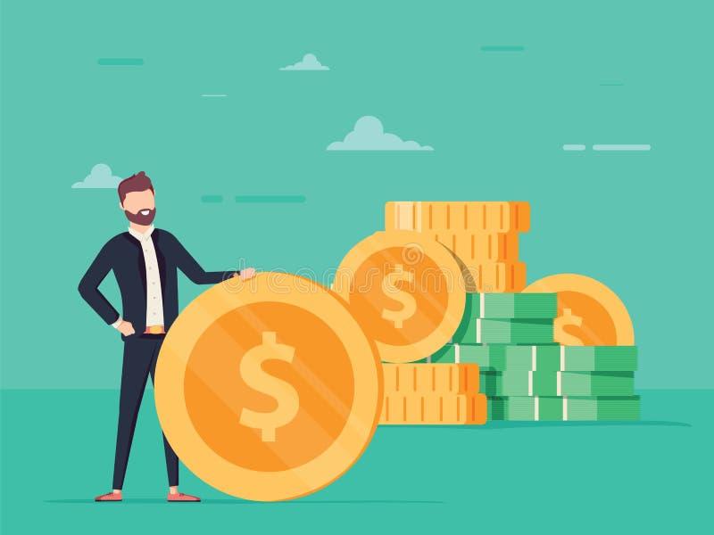 Przystojny pozytywny biznesmen trzyma ogromną złotą dolar monetę Przychód, oszczędzanie i inwestować pieniądze pojęcie, ilustracji