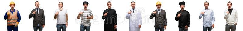 Przystojny starszy mężczyzna z różną pracą odziewa zdjęcia stock