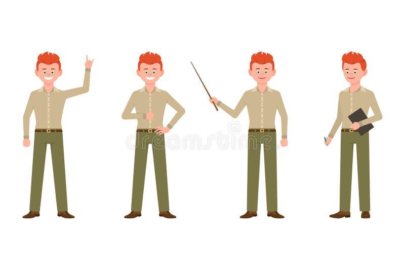 Przystojny, szczęśliwy mężczyzna w mądrze przypadkowej biurowej odzież wektoru ilustracji, Stojący, pokazywać zwycięstwo znaka, p ilustracja wektor