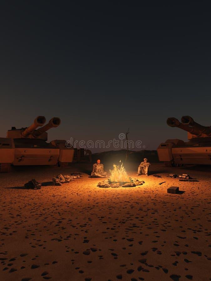 Przyszłościowy żołnierz pustyni obóz przy nocą royalty ilustracja