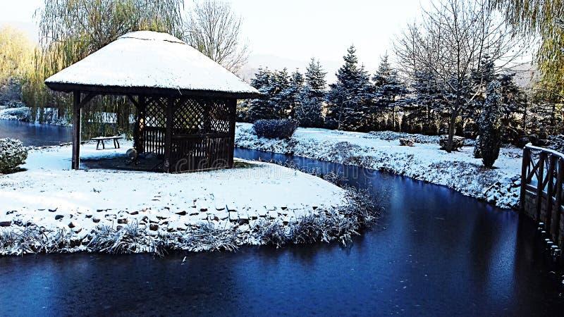 przyszła zima śnieg Woda w stawie marznie fotografia royalty free