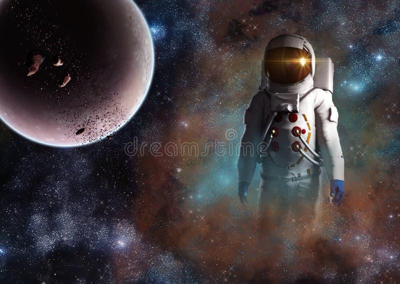 Przyszłość eksploracja przestrzeni kosmicznej ludzkość astronauta ilustracji